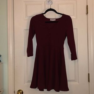 Maroon Button Front Dress
